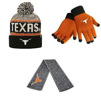 Licensed Texas Longhorns Acid Rain Beanie Hat Hail Scarf And Glove Solid Knit 3Pk 28528 KO_19_1