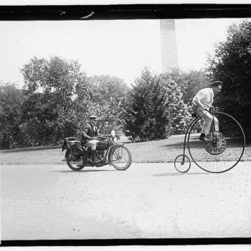 c1921 High Wheel Bicycle and Motorcycle Bigwheel bike  -Antique-Old-Vintage B&W Reproduction Photograph: Gicclee Print. Frame it!