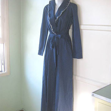 Midcentury White Polka Dot Navy Blue House Coat - Large-XL Cotton Blend Navy Polka Dot Dressing Gown/ Robe; Retro Diva/Grande Dame Robe