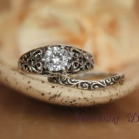 Wide White Sapphire Filigree Ring Set with Smoke Swirl Band in Sterling Silver - Engagement Ring Set, Promise Ring Set, Wedding Ring Set