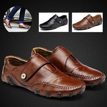 Fashion Men's Leather Velcro Plus-size Sneakers Casual Loafers Driving Shoes