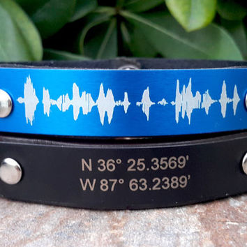 Sound Wave Bracelet, Personalized Leather Mens Womens Bracelet, Customized Leather Bracelet, Blue Aluminum Plate, Voice Recording