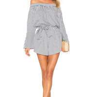 FAITHFULL THE BRAND Bisque Playsuit in Charcoal Cove Stripe Print | REVOLVE