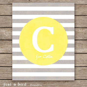 Nursery letter art print, monogram printable, grey yellow nursery printable, baby name art, nursery initial - INSTANT DOWNLOAD