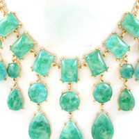 Turquoise Marbled Bubble Bib Necklace