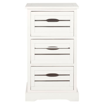 Catherine 3-Drawer Nightstand, White, Nightstands