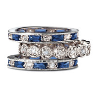 SusanB.Designs Simulated Sapphire and CZ 3-Piece Stackable Ring Set