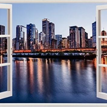 "Chicago Skyline View Urban City Scape Home Office Kitchen Kids Nursery Room Gift 3D Unique Window Depth Style Vinyl Print Removable Wall Sticker Decal Mural Size 19.6"" x 27"" by Bomba-Deal"