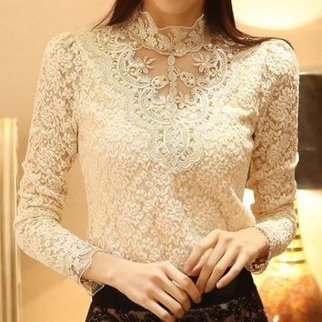 Women Crochet Blouse Lace Chiffon Shirt = 5709704257
