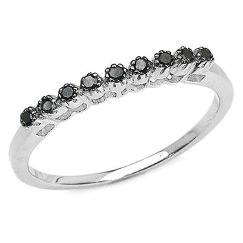 0.10 Carat Genuine Black Diamond .925 Sterling Silver Ring