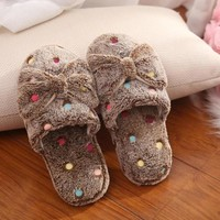 2016 Fashion Woman Kawaii Shoes Fluffy Home Slippers Bowtie Indoor Plush Slippers Cute