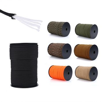 100M 550 Reflective Paracord Parachute Cord Lanyard 9 Strand Core Rope Outdoor Climbing Camping Survival Emergency Equipment