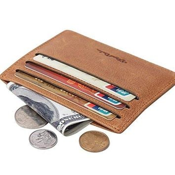 BISON DENIM Vintage Genuine Leather Wallet Front Pocket Wallets Slim Minimalist Wallet Card Holder for Men Women