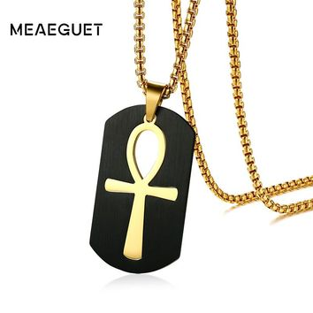 "Egyptian Ankh Key To Life Stainless Steel Pendant Necklace Gold-plated 24"" Chain"