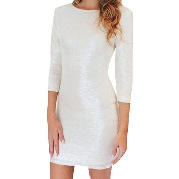 Sexy White Sequin 3/4 Sleeves Backless Zipper Bodycon Cocktail Pencil Party Dress