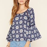 Ornate Print Peasant Top
