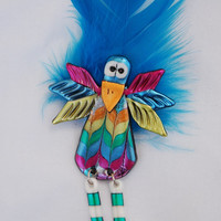 Crazy Bird Pin with Funky Blue Feather- funny little lightweight friendly plastic birds lover brooch