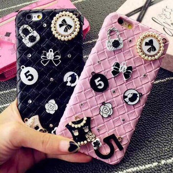 Fashion Luxury PC Weaving Leather  No. 5 Hard Case Rhinestones Case For Iphone6 6s 6plus 6splus