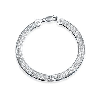 Herringbone Reversible Flat Greek Key Chain Bracelet Sterling Silver