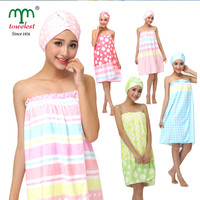 2016 New Women Bath Body Wrap + Hair Turban Set 1PC/Lot Microfiber Print Towel Wrap and Hair Drying Towel Wrap 320005