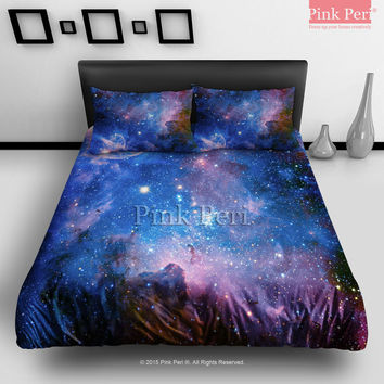 Deep Blue Milky Way Nebula Space Galaxy Bedding sets Home & Living Wedding Gifts Wedding Idea Twin Full Queen King Quilt Cover Duvet Cover Flat Sheet Pillowcase Pillow Cover 011
