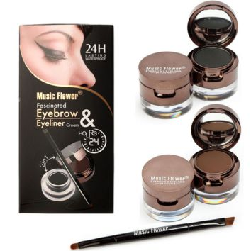 24H Lasting Waterproof Music Flower Eyeliner Eyebrow Set