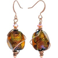 Spiral Dichroic Glass Dangle Earrings Created with Swarovski Crystals