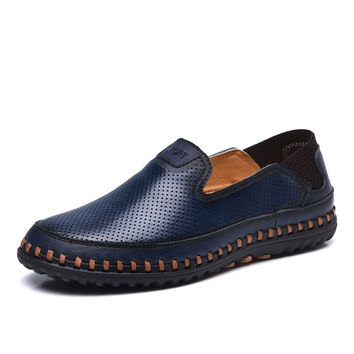 Genuine Leather Perforated Summer Dress Loafers