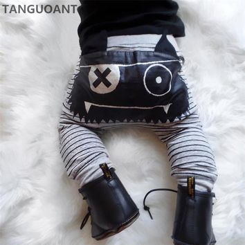 TANGUOANT Hot Sale Baby Boys Girls Cute Striped Monster Bottom Pants Leggings Harem Pants Kids Trouser