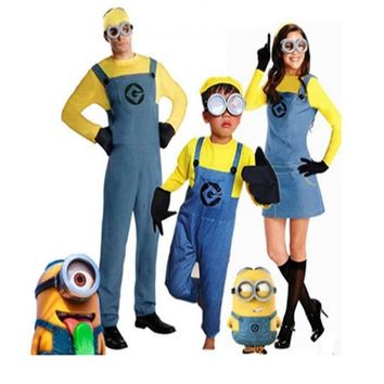 Free PP! Family Child Boys Girls Minion Costume Parent Adult Minion Fancy Dress Halloween Cosplay Costume