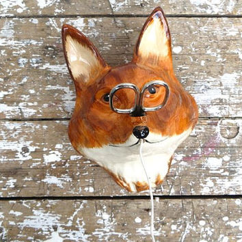 Vintage Fox String Holder Brown Fox Babbacombe Pottery Office Decor Man Cave Decor Decor Retro Fox