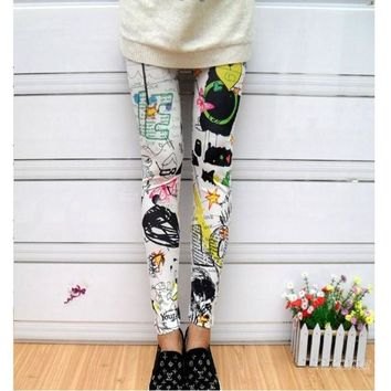New Women Seamless white cartoon graffiti printed leggings leggings