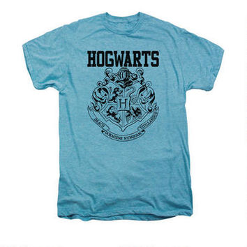 Hogwarts Crest Athletic Adult Premium Sky Heather T-shirt | WBshop.com | Warner Bros.