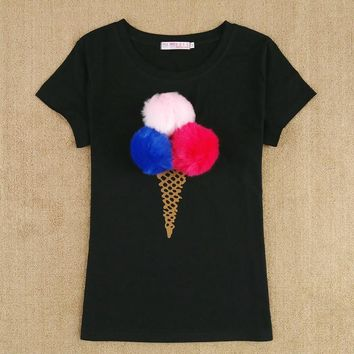 Brand New Summer Female T-shirt Ladies Short Sleeve Cotton Top Tees Fashion Tshirt For Women Plush Ball Kawaii Ice Cream t-shirt