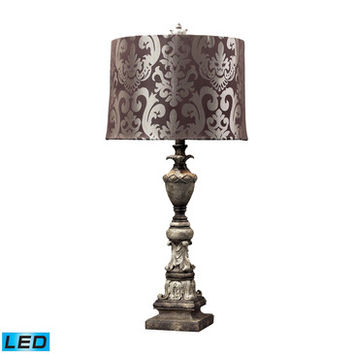Dimond Lighting Westpoint Distressed Finish Table Lamp w/ Chocolate Damask Print Shade - LED Offering Up To 800 Lumens