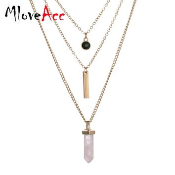 MloveAcc Multi Layer Crystal Stone Pendant Necklace Women High Quality Personality Summer Fashion Necklace Jewelry