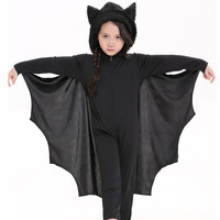 Kids Boys Girls Cosplay Bat Costumes Party Carnival Halloween Costumes for Child Black Bat Onesuits Connect Wings Batman Clothes