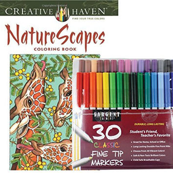 Sargent Art Classic Fine Tip Markers in a Case, Set of 30 and Dover Creative Nature Scapes Coloring Book by Patricia J. Wayne (Bundle of 2)