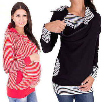 S-3XL Loose Women Blouse Tops Breastfeeding Long Sleeve Shirt Pregnant Maternity Clothes Spring Autumn Stripe Maternity Blouse