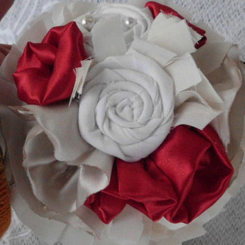 Fabric Flower Bridesmaid Bouquet, Wedding, Bridal, Custom, Shabby Chic, Pearls, Rustic, Vintage, Lace, Red, White,Ivory, Champagne, package