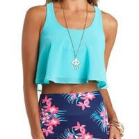 Dot-Textured Chiffon Swing Crop Top by Charlotte Russe - Mint