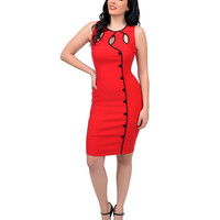 Voodoo Vixen 1950s Style Red & Black Cut Out Emi Fitted Wiggle Dress