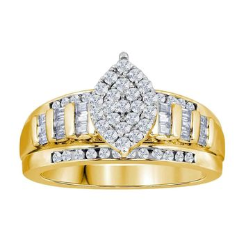 Yellow-tone Sterling Silver Women's Round Diamond Oval Cluster Bridal Wedding Engagement Ring 1/2 Cttw - FREE Shipping (US/CAN)