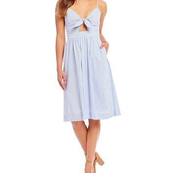Willow & Clay Poplin Tie Front Stripe Novelty Shirting Dress | Dillards