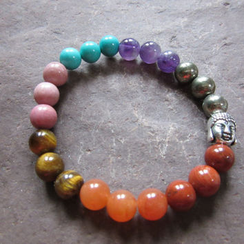 Handmade stretch bracelet natural 7 chakras semi-precious stones 8mm buddha head Reiki infused JS