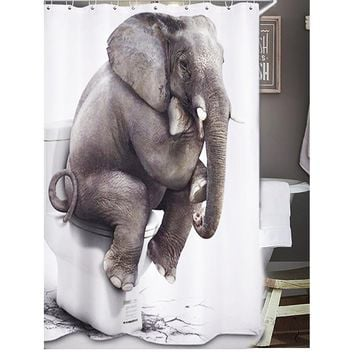 Elephant On Closestool Shower Curtain With Hook 12pcs