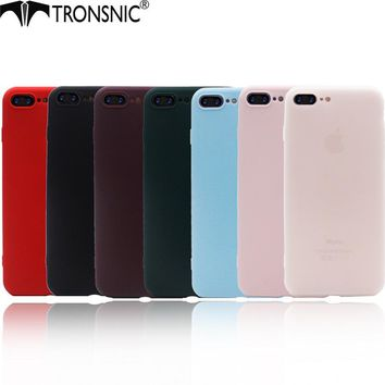 Tronsnic Colorful Phone Case for iPhone 5s Se 6 6s plus 7 plus Rainbow Solid Red Wine Matte Soft TPU Cover Slim Black Blue Green