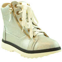 Womens Ankle Boots Lace Up Zipper Accent High Top Sneakers Silver