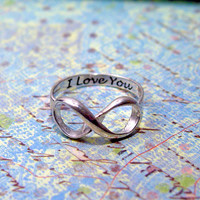 Infinity  ring sterling silver Engraved with I by Hellomyflower