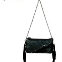 Montana West Hair on Hide Leather Fringed Clutch RLC-L001